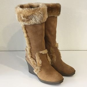 Ruff Hewn | Suede Faux Fur Wedge Boots 7.5